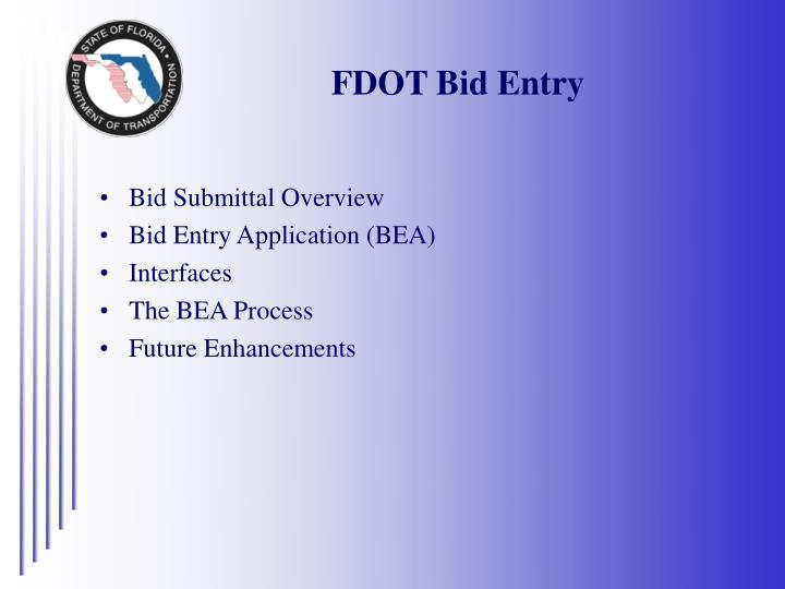 FDOT Bid Entry