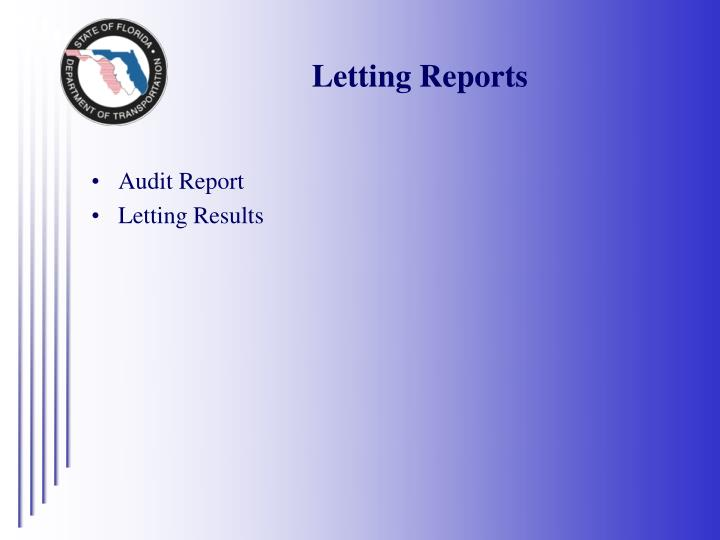 Letting Reports