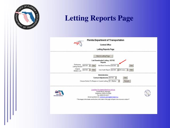 Letting Reports Page