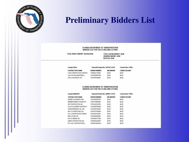 Preliminary Bidders List