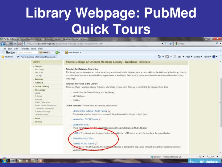Library Webpage: PubMed Quick Tours