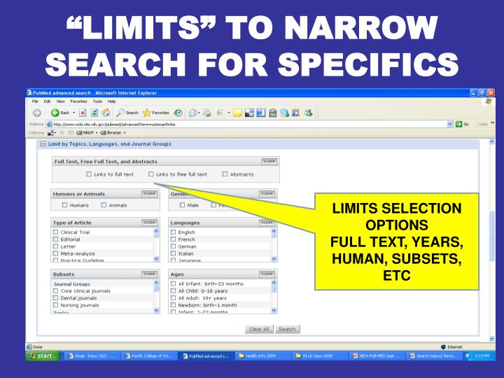 """""""LIMITS"""" TO NARROW SEARCH FOR SPECIFICS"""