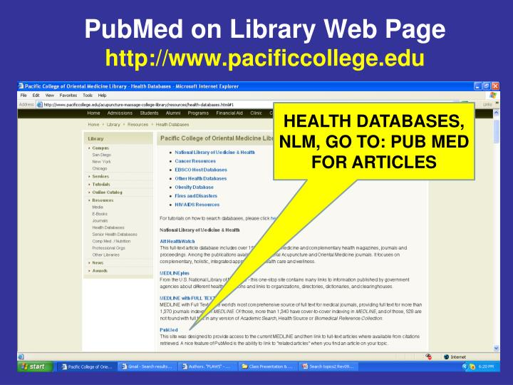 PubMed on Library Web Page