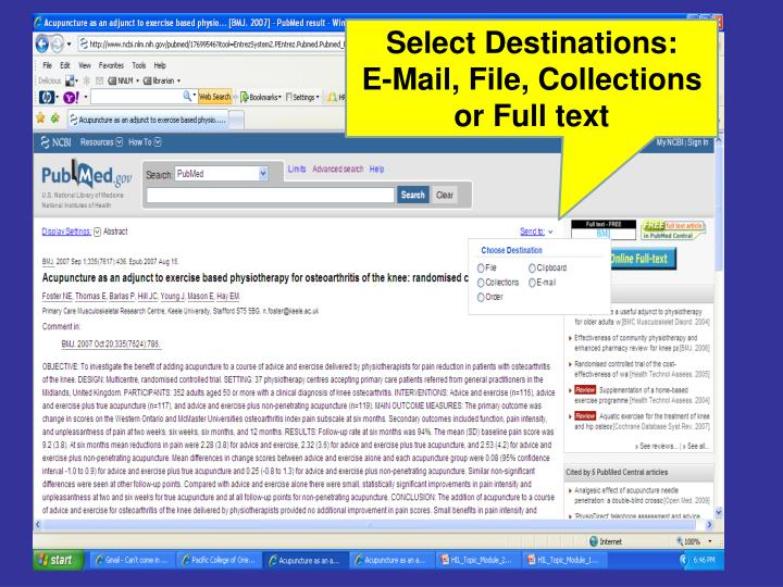 Select Destinations: