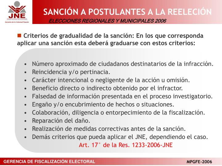 SANCIÓN A POSTULANTES A LA REELECIÓN