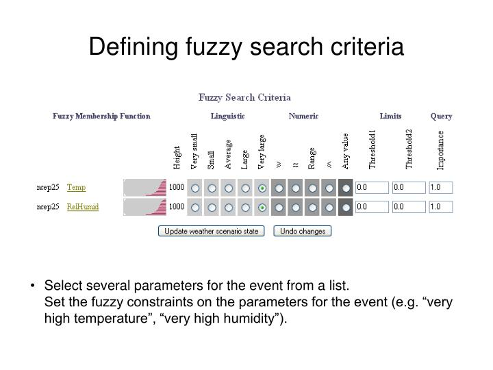 Defining fuzzy search criteria