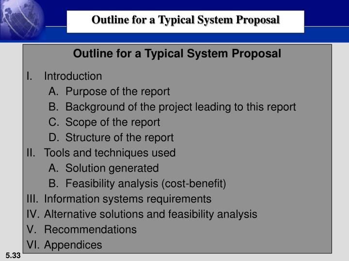 Outline for a Typical System Proposal