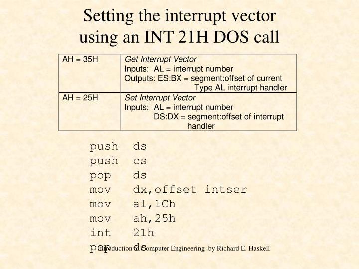 Setting the interrupt vector