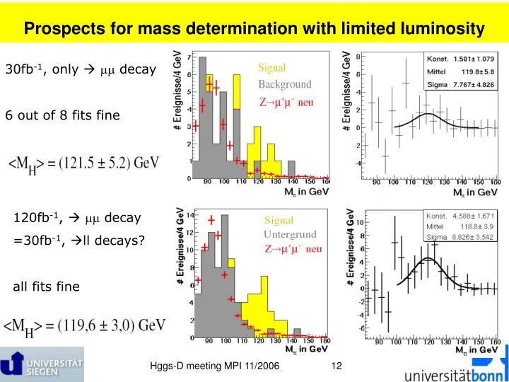 Prospects for mass determination with limited luminosity