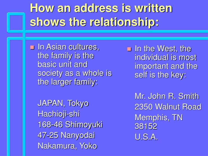 In Asian cultures, the family is the basic unit and society as a whole is the larger family: