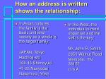 how an address is written shows the relationship