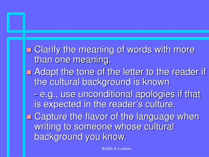 Clarify the meaning of words with more than one meaning.