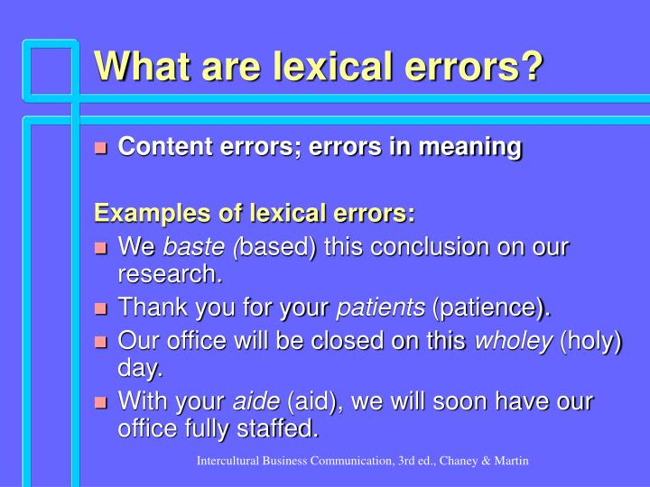 What are lexical errors?