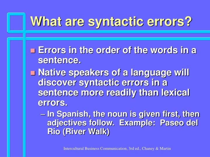 What are syntactic errors?