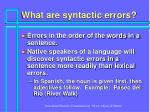 what are syntactic errors