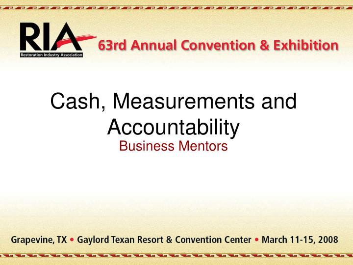 cash measurements and accountability