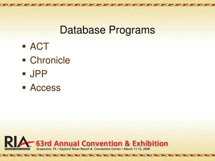 Database Programs
