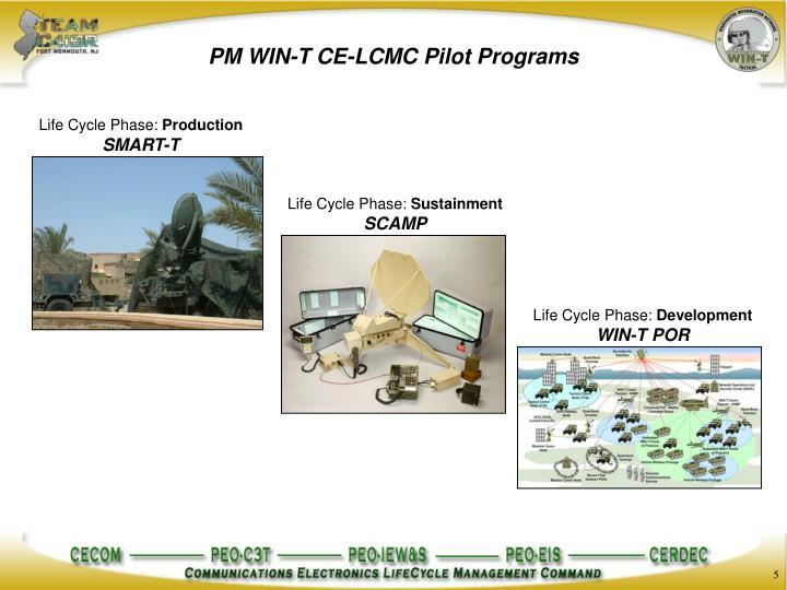 PM WIN-T CE-LCMC Pilot Programs