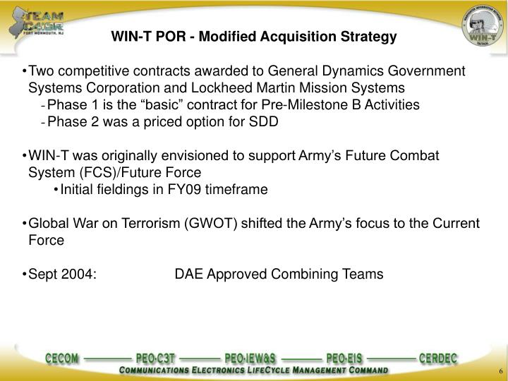 WIN-T POR - Modified Acquisition Strategy