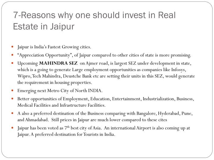 7-Reasons why one should invest in Real Estate in Jaipur
