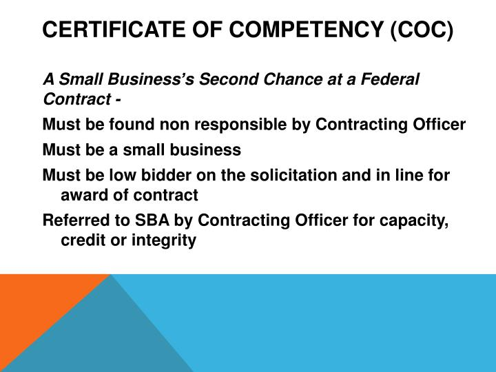 Certificate of Competency (COC)