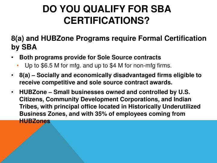 Do You Qualify for SBA Certifications?