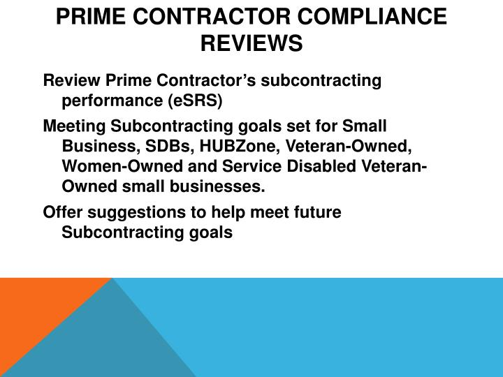 Prime Contractor Compliance Reviews