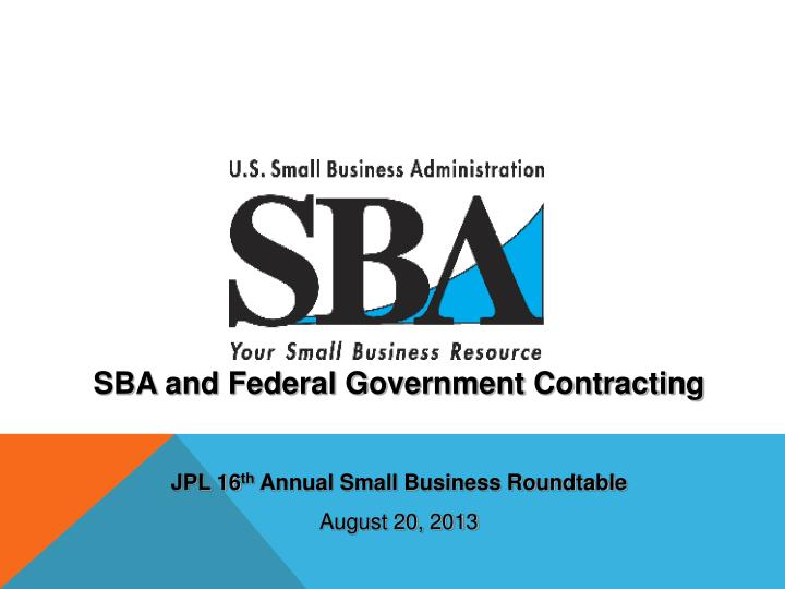 SBA and Federal Government Contracting