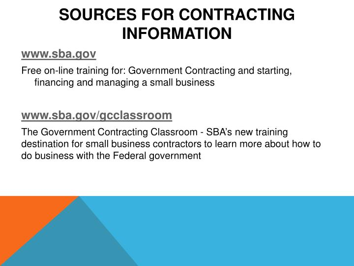 Sources for Contracting Information