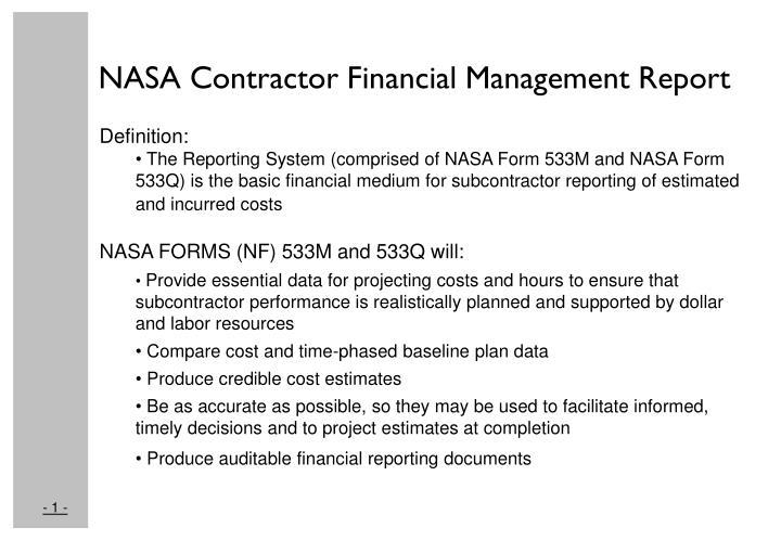 NASA Contractor Financial Management Report