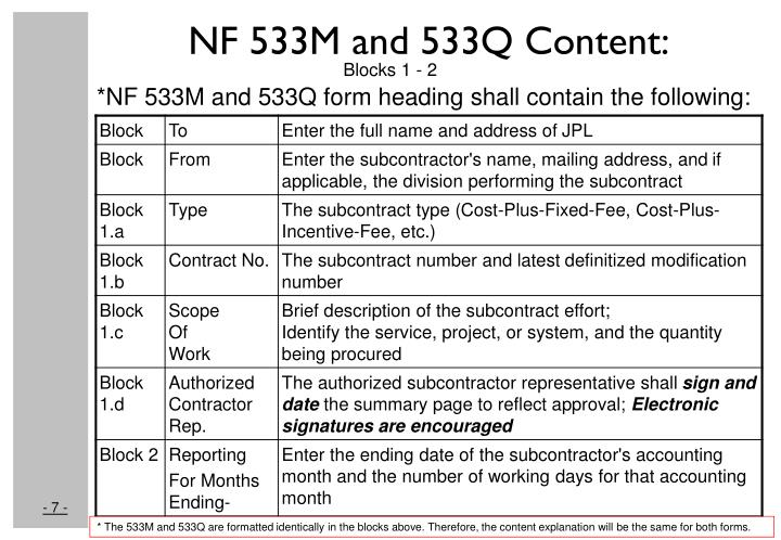 NF 533M and 533Q Content: