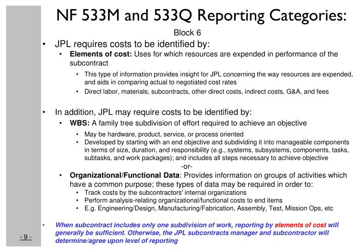 NF 533M and 533Q Reporting Categories:
