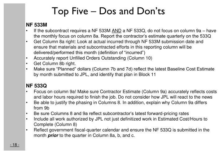 Top Five – Dos and Don'ts
