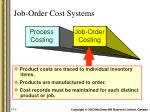 job order cost systems
