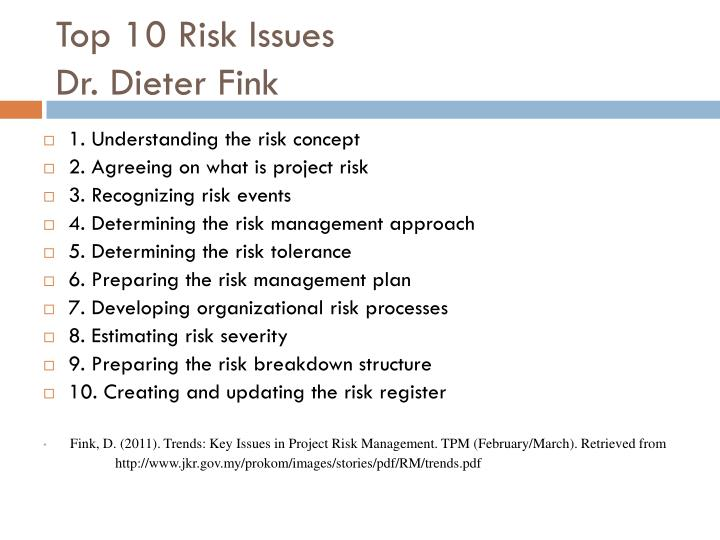 Top 10 Risk Issues