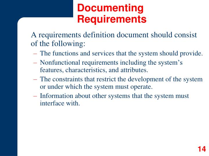 Documenting Requirements