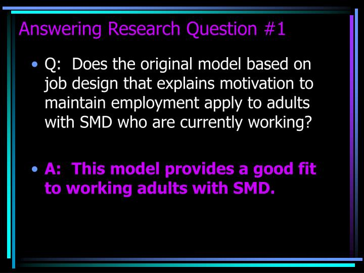 Answering Research Question #1