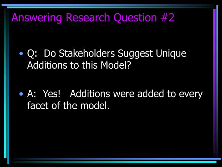 Answering Research Question #2