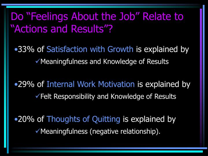 """Do """"Feelings About the Job"""" Relate to """"Actions and Results""""?"""