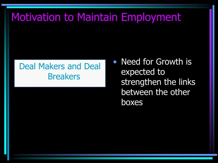 Need for Growth is expected to strengthen the links between the other boxes
