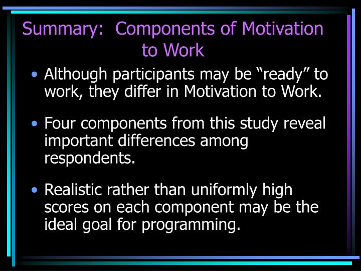 Summary:  Components of Motivation to Work