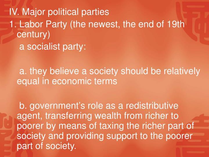 IV. Major political parties