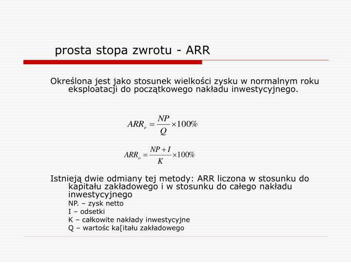 prosta stopa zwrotu - ARR