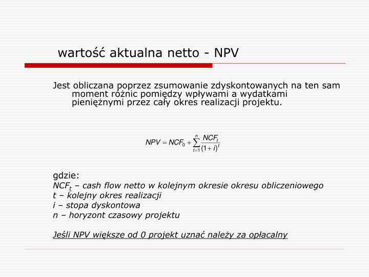 wartość aktualna netto - NPV