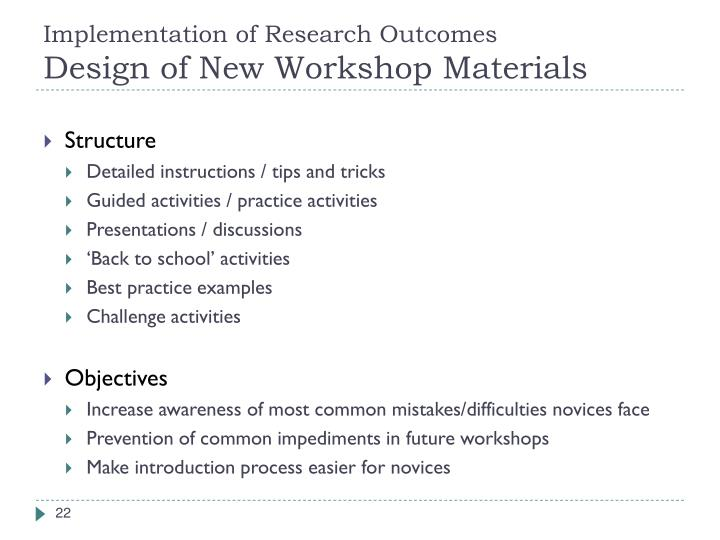 Implementation of Research Outcomes