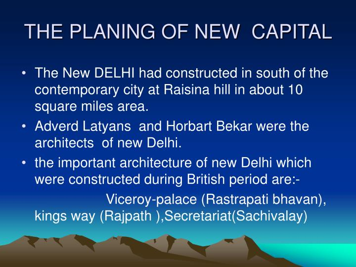THE PLANING OF NEW  CAPITAL
