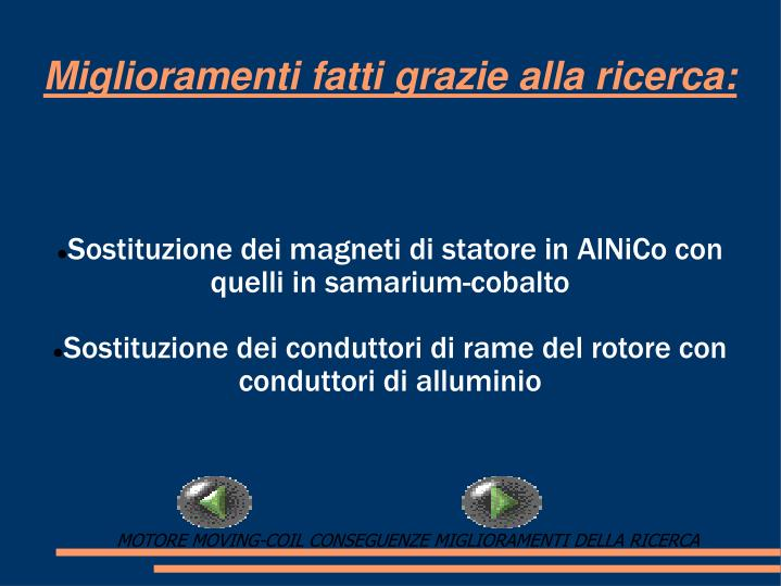 Sostituzione dei magneti di statore in AlNiCo con quelli in samarium-cobalto