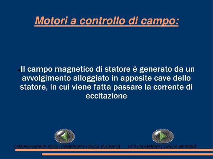Il campo magnetico di statore è generato da un avvolgimento alloggiato in apposite cave dello statore, in cui viene fatta passare la corrente di eccitazione