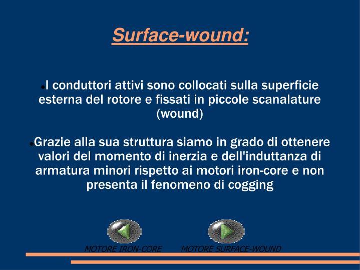 I conduttori attivi sono collocati sulla superficie esterna del rotore e fissati in piccole scanalature (wound)