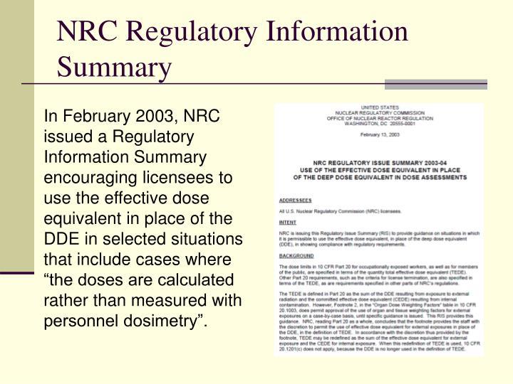 NRC Regulatory Information Summary